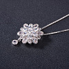 SHEGRACE® Flower Glittering Platinum Plated Brass Pendant NecklacesJN227A-2