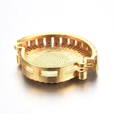 Brass Micro Pave Cubic Zirconia Slide CharmsZIRC-E157-02F-G-1