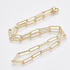 Brass Textured Paperclip Chain Necklace Makings MAK-S072-01A-G-2