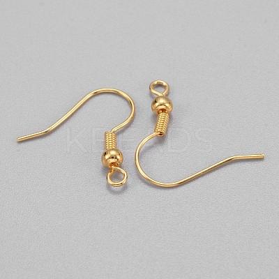Golden Brass Earring Hooks Ear Wire Hooks with BallX-KK-Q261-5-1