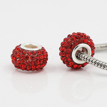Large Hole Rondelle Resin Pave Grade A Rhinestone European Beads CPDL-H001-12x9mm-19-1
