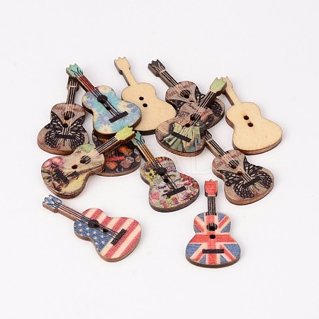 2-Hole Guitar Printed Wooden Sewing Buttons BUTT-M011-77-1