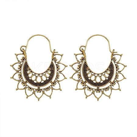 Bohemian Retro Style Alloy Hoop Earrings EJEW-TAC0003-02AG-1