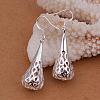 High Quality Silver Plated Brass Hollow Teardrop Dangle EarringsEJEW-BB11970-5