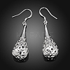 High Quality Silver Plated Brass Hollow Teardrop Dangle EarringsEJEW-BB11970-2