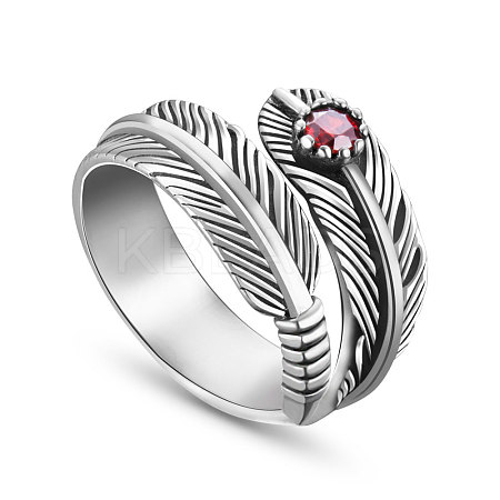 SHEGRACE® Antique Feather 925 Sterling Silver Cuff Rings JR149A-1