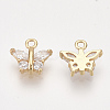 Brass Cubic Zirconia CharmsKK-S348-441-2