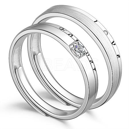 SHEGRACE® 925 Sterling Silver Adjustable Couple RingsJR711A-1