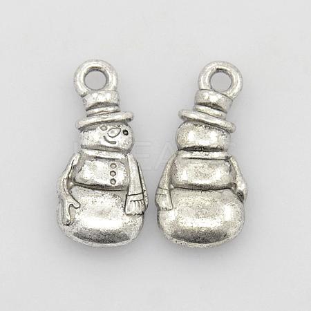 Tibetan Style Alloy Antique Silver Snowman Pendants for ChristmasX-TIBEP-GC155-AS-RS-1