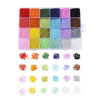 24 Colors 12/0 Glass Seed Beads, Opaque Colors Lustered & Ceylon & Opaque Colours Seed & Frosted Colors & Colors Rainbow & Colours Lustered & Silver Lined & Transparent, Round, Mixed Color, 2mm, Hole: 1mm