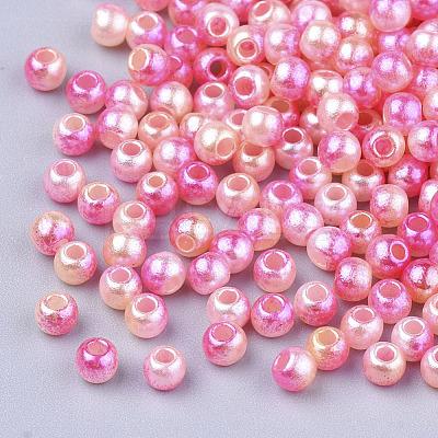 Rainbow ABS Plastic Imitation Pearl BeadsOACR-Q174-5mm-04-1