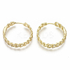 Brass Micro Pave Clear Cubic Zirconia Huggie Hoop Earrings EJEW-S201-207G-NF-2