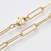 Brass Textured Paperclip Chain Necklace Makings MAK-S072-01A-G-1