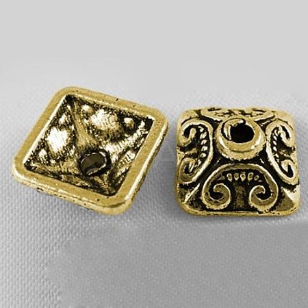 Antique Golden Tone Square Tibetan Style Bead CapsX-GLF0893Y-NF-1