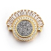Brass Micro Pave Cubic Zirconia Slide Charms ZIRC-E157-02D-G-1