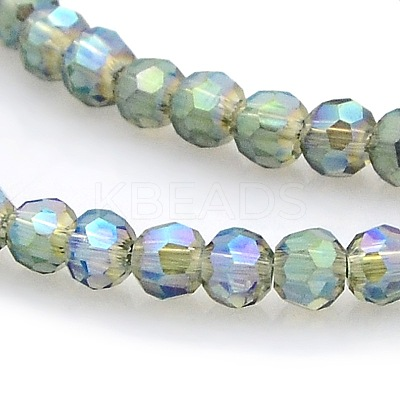 Full Rainbow Plated Glass Faceted Round Spacer Beads Strands GLAA-A027-3mm-FR02-1
