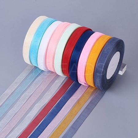 10 Colour Ribbon Mix Sheer Organza Ribbon 10mm Width