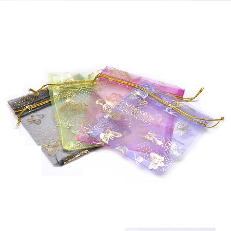 Gold Stamping Butterfly Rectangle Organza Gift Bags X-OP-L006B-02-1
