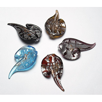 Handmade Silver Foil Glass Large Pendants, with Gold Sand, Leaf, Mixed Color, about 61~65mm long, 35~38mm wide, 7~8mm thick, hole:3~4mm
